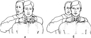 Пальпация в позиции позади: ощупывание перешейка (а) и боковых деталей (б).